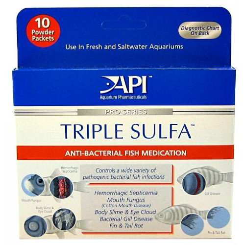 API Pro Series Triple Sulfa Anti-Bacterial Fish Medication Powder Triple Sulfa Powder - 10pk