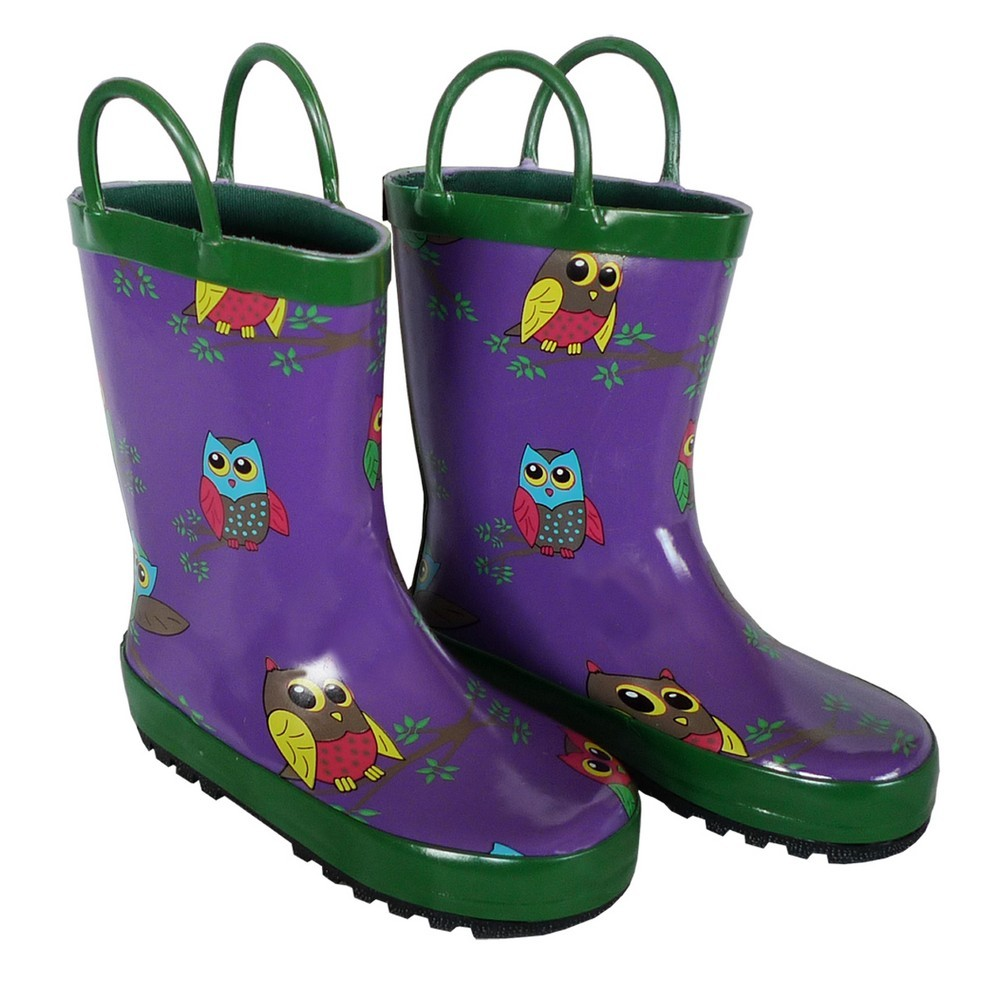 Purple Owls Toddler Girls Rain Boots 5-10
