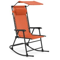Best Choice Products Foldable Zero Gravity Rocking Patio Chair w  Sunshade Canopy Orange by Best Choice Products