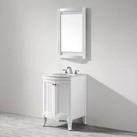 "Miseno MV717024 White / Carrara Marble Top Creston 24"" Free Standing Single Vanity Set"