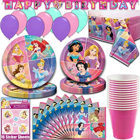 Disney Princess Party Supplies, Serves 16 - Dinner Plates, Dessert Plates, Napkins, Tablecloth, Cups, Balloons, Birthday Banner, Stickers - Full Tableware, Decorations, Favors - Princess Birthday Themes