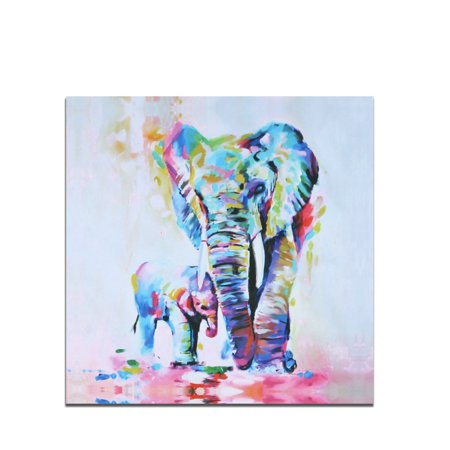 Colorful Original Art - Canvas Wall Art Colorful Elephant Canvas Art 50*50cm Nature Pictures Animal Artwork for Home Living Room Bedroom Wall Decor