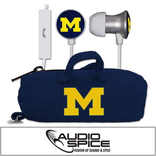 Michigan Wolverines Scorch Earbuds + Mic with BudBag