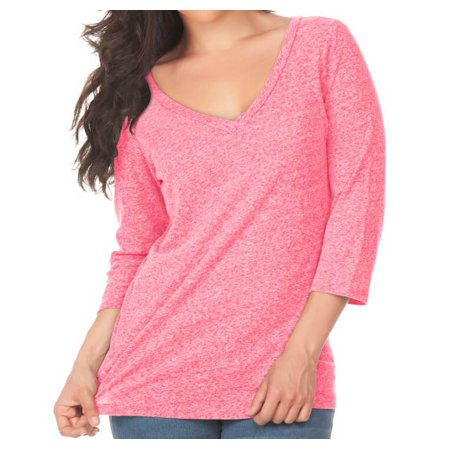 Kavio! Women Snow Jersey V Neck 3/4 Sleeve Silicon Wash Watermelon L - Watermelon Suit