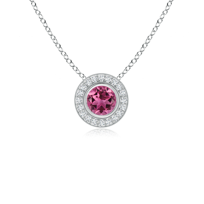 October Birthstone Pendant Necklaces Pink Tourmaline Pendant Necklace with Diamond Halo in 950 Platinum (5mm Pink... by Angara.com
