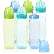 Evenflo Feeding Vented + BPA-Free Plastic Baby Bottles, 8oz, Teal/Blue/Green, 6ct