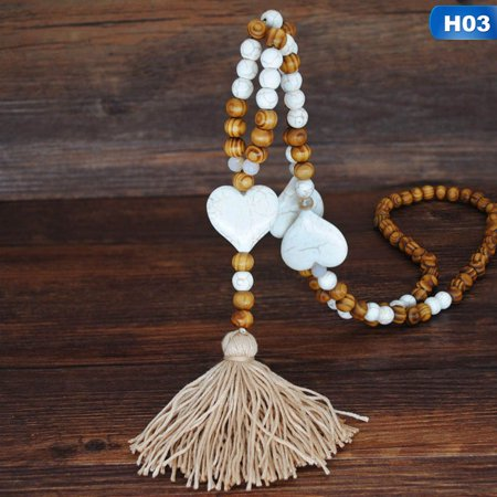 KABOER Womenand#39;S Fashion Bohemian Wind Handmade Stone Jewelry Long Necklace Star Butterfly Heart Stone Tassels Necklace Wooden Bead Necklace For Ladies Sweater Necklace ()