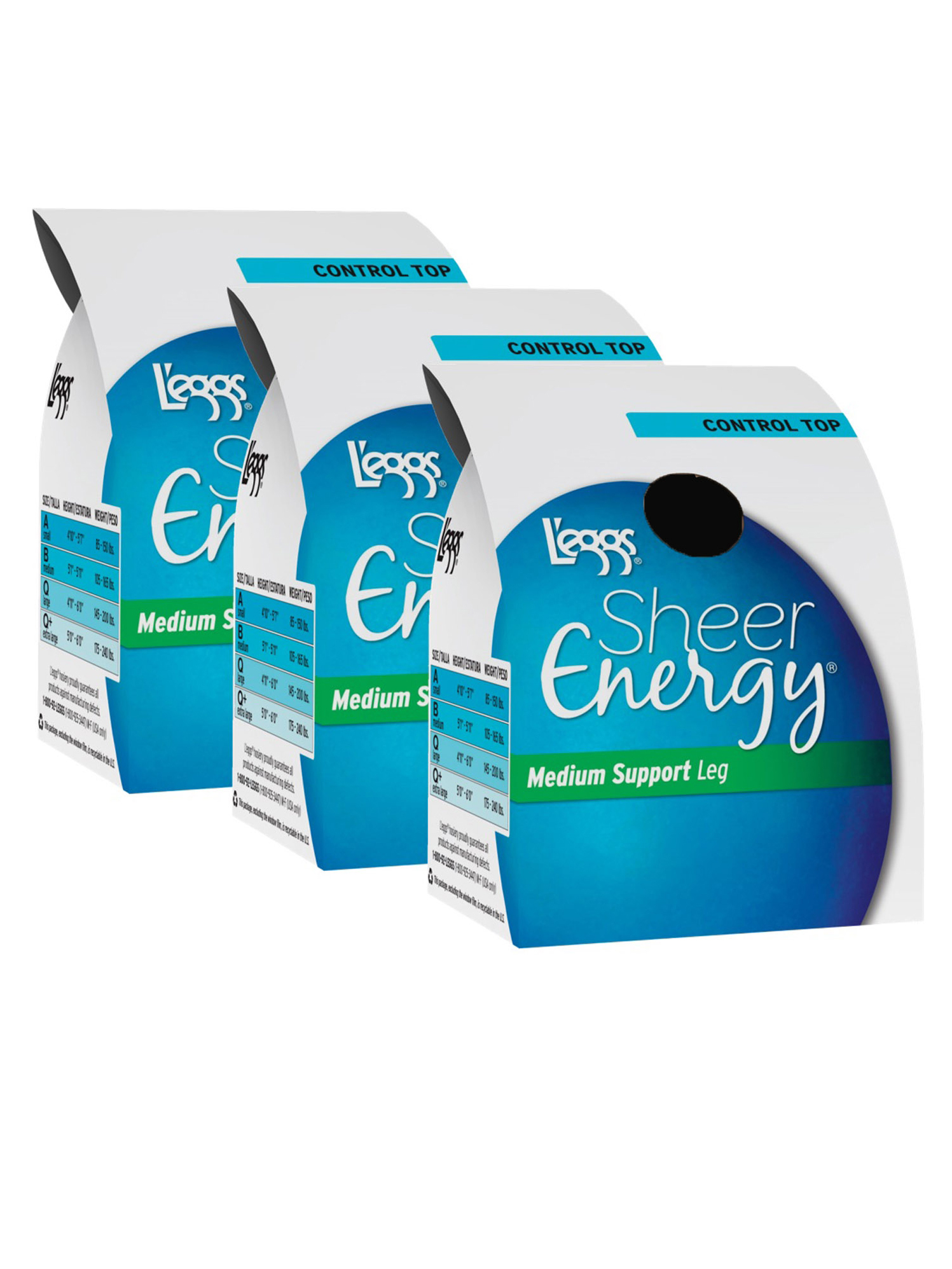 L'eggs Sheer Energy Medium Support Control Top Hosiery, 3 Pack