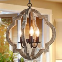 Farmhouse 3-lights Chandelier with Latern for Kitchen Island