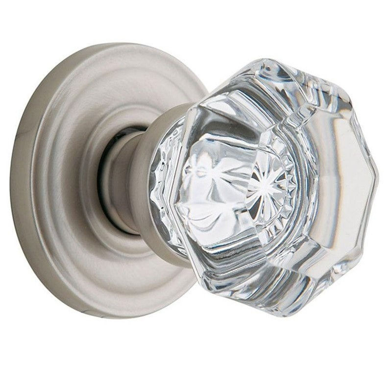 Filmore Satin Nickel Passage Crystal Knob