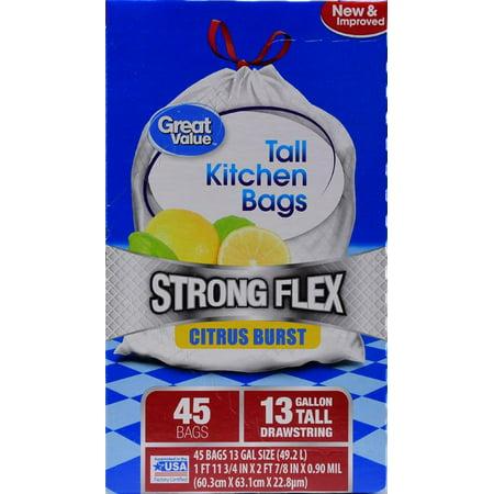 Great Value Strong Flex Tall Kitchen Drawstring Trash Bags, Citrus Burst, 13 Gallon, 45 (Capacity Trash Bags)