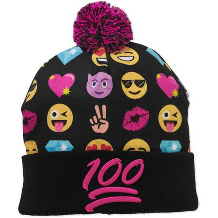 0d5e53bd9cca8 Emoji - Women s Cuff Pom Knit Hat - Walmart.com