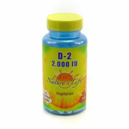 Vitamin D-2 2000 IU 2000 iu By Nature's Life - 90 Vegetable