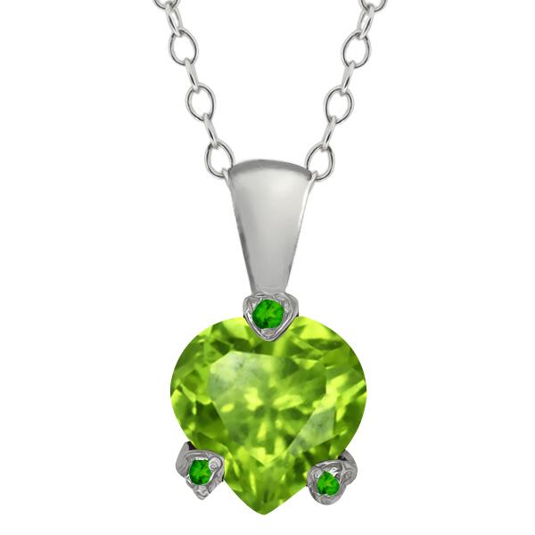 1.32 Ct Heart Shape Green Peridot and Simulated Peridot 18k White Gold Pendant