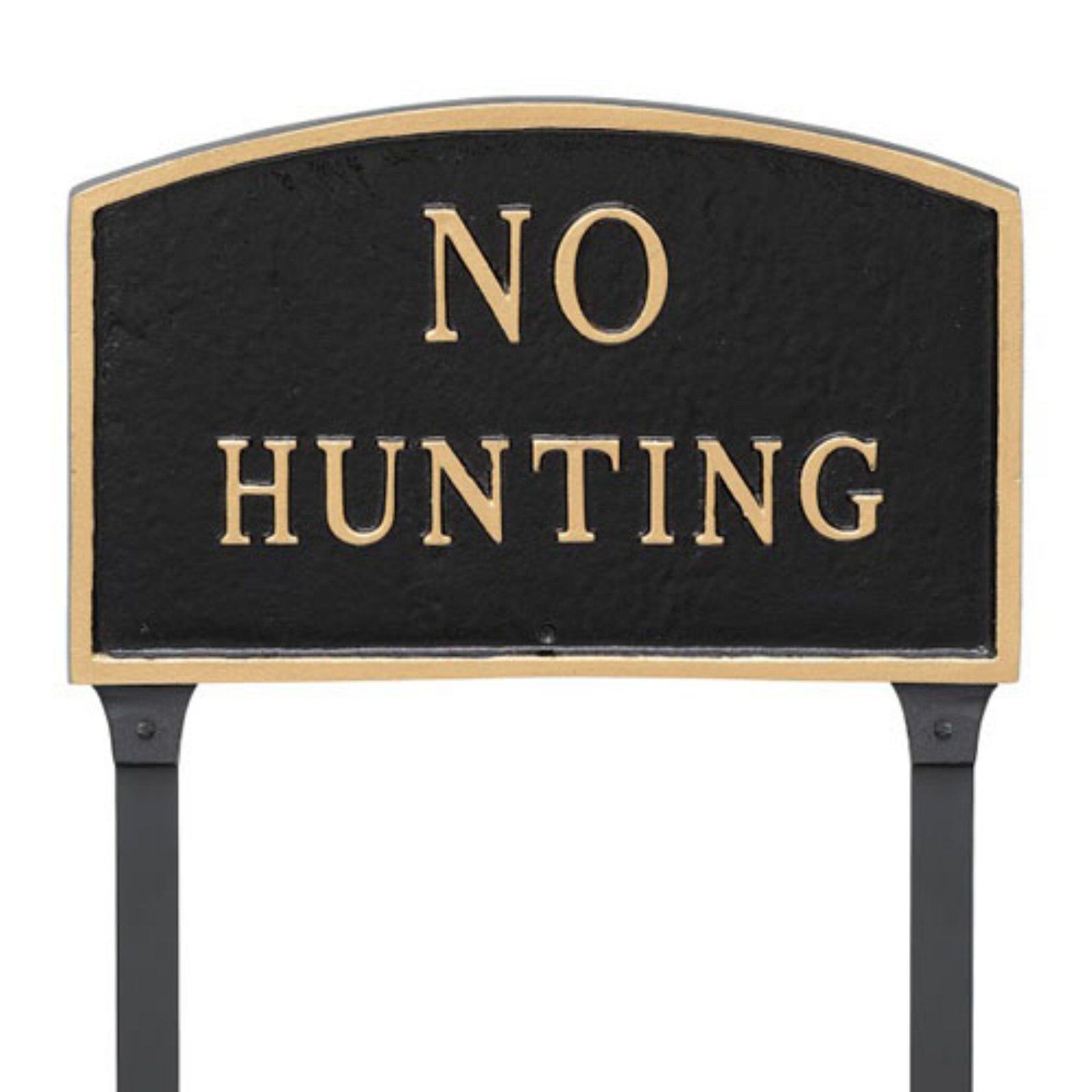 Montague Metal Products No Hunting Arched Lawn Plaque