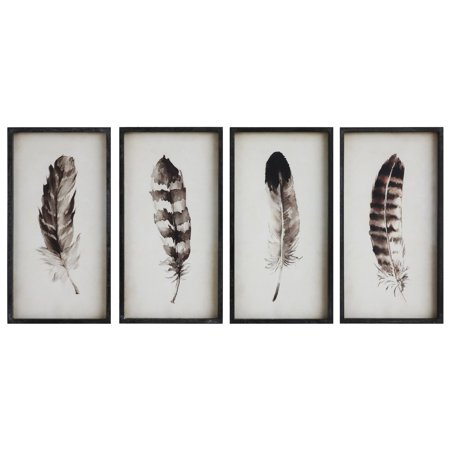 3R Studios Framed Feathers Wall Art - Set of 4](Feather Wall Art)