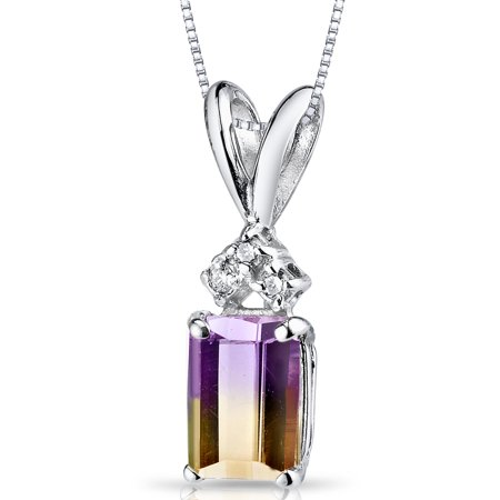 Peora 1.00 Carat T.G.W. Emerald-Cut Ametrine and Diamond Accent 14kt White Gold Pendant, 18