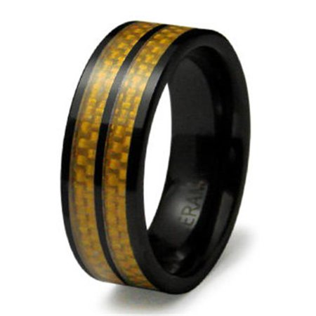 Ewc R40007 090 Ceramic Ring With Carbon Fiber Inlay   Size 9