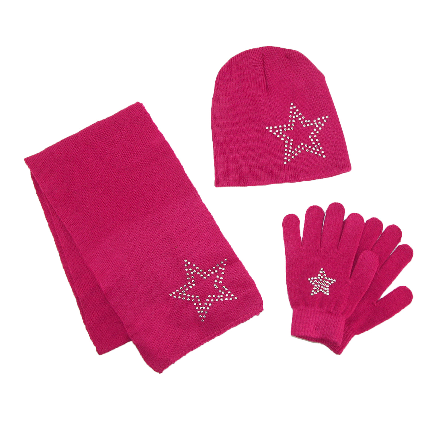 Girl's Stud Accent Hat Glove and Scarf Winter Set, Size: one size