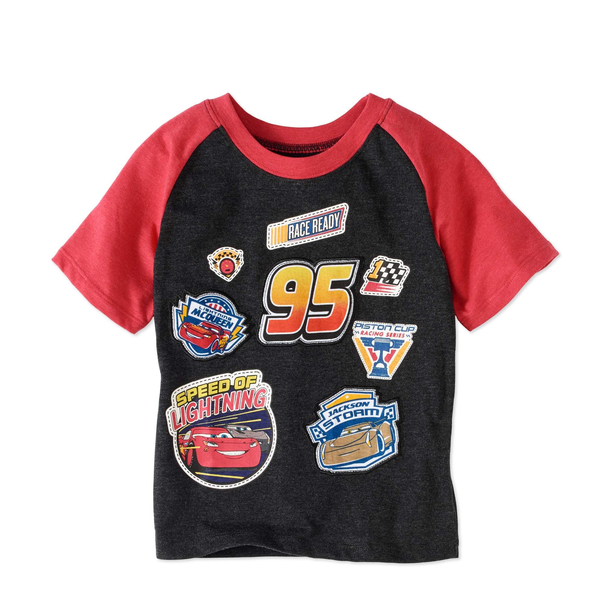 Cars Toddler Boys' Short Sleeve Raglan Embroidered Patches T-Shirt