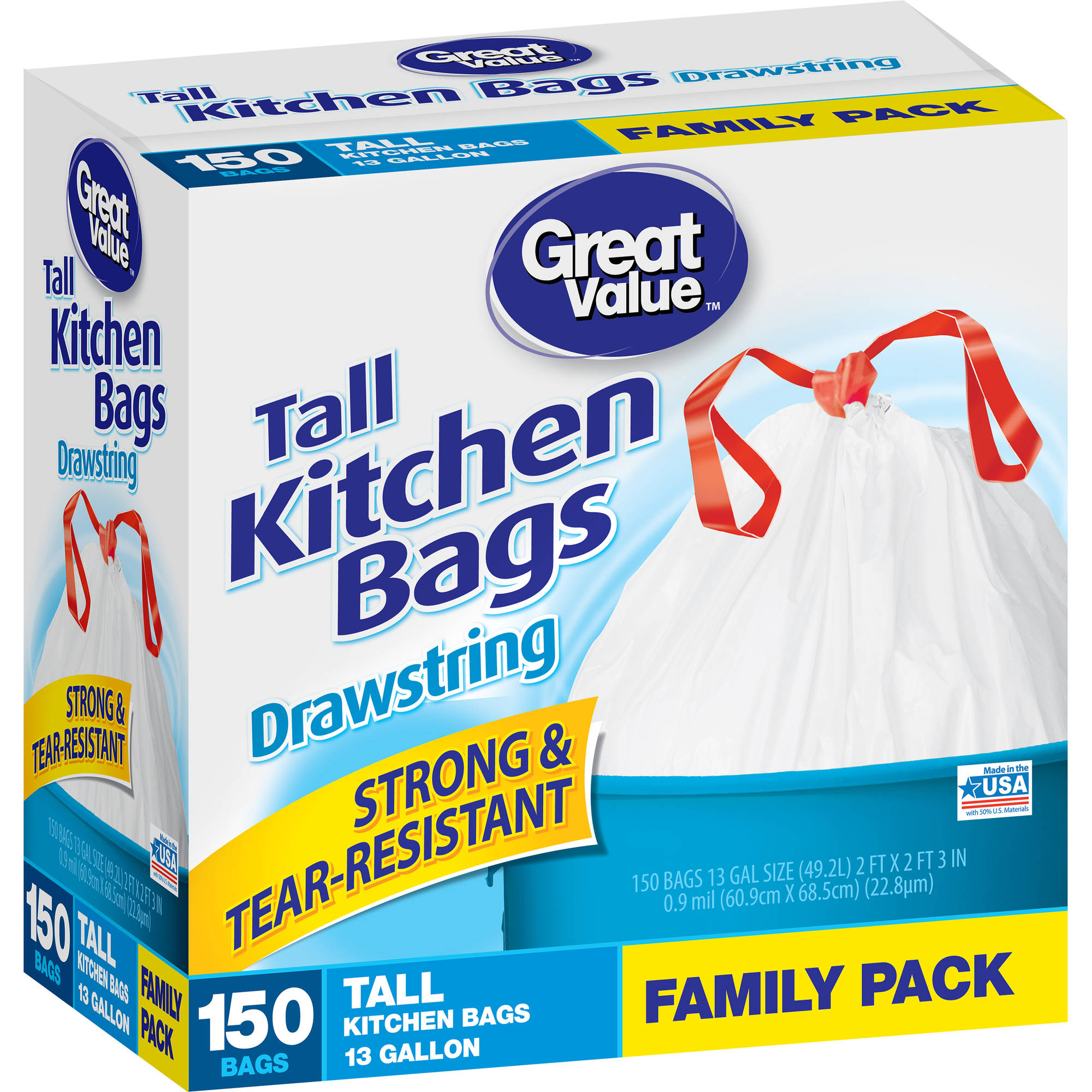 Great Value Drawstring Tall Kitchen Bags, 13 gallon, 150 count