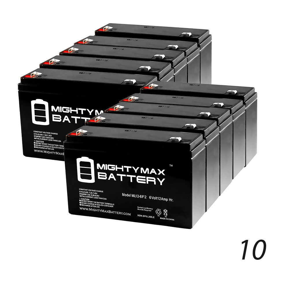 6V 12AH F2 Battery for Medical Products Modulus 2 Plus 5380 10 Pack by Mighty Max Battery