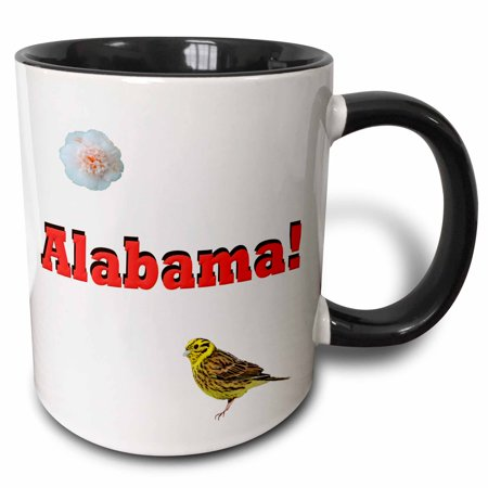 3dRose Alabama, Two Tone Black Mug, -
