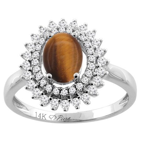 14K White Gold Natural Tiger Eye Ring Oval 8x6 mm Double Halo Diamond Accents, size 5.5
