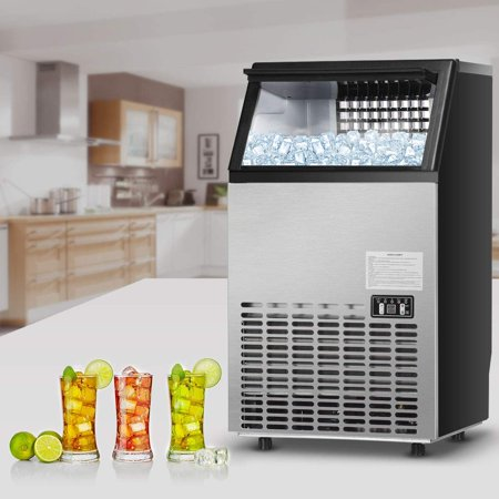 Countertop Ice Machine, Commercial Built-In Stainless Steel Ice Maker w/33 lb Storage Capacity, 145lbs/24h, 0.9