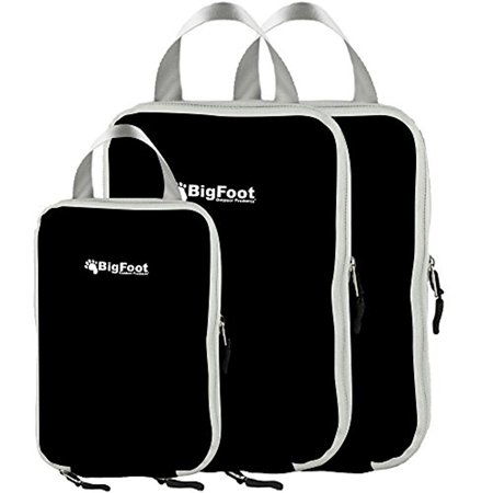 Bigfoot Outdoor Products Packing Compression Cubes (3-Pack) 2 Large + 1 Medium (Black)