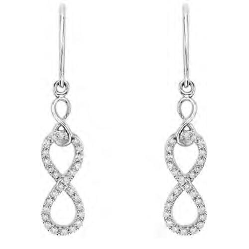 Sterling Silver Infinity Earrings with 0.21 Ct White Diamonds