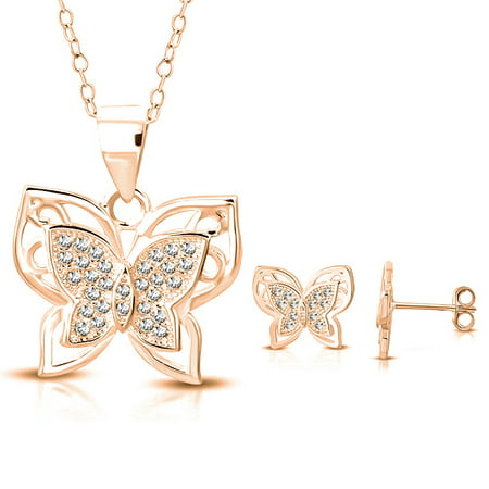 925 Sterling Silver Clear CZ Butterfly Pendant Necklace Stud Earrings Set, 18