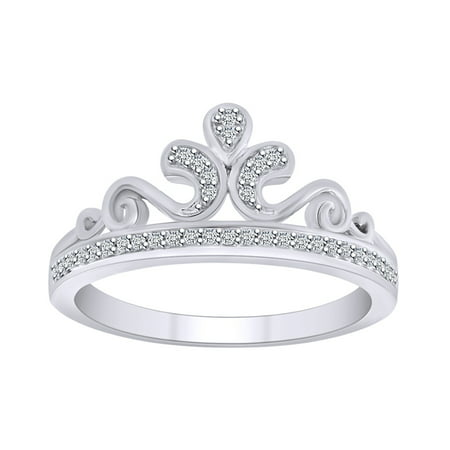 0.10 Cttw Round White Natural Diamond Queen's Crown Ring In 10K Solid White Gold-Ring (Crown Queen's)