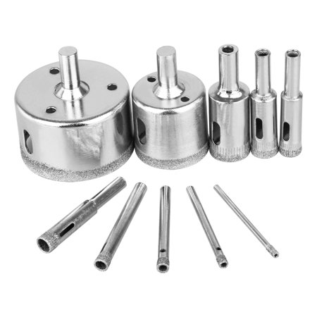 TSV 10PCS 3-50mm Diamond Hole Saw Drill Bit Set Glass Ceramic Tile Marble Cutting Tool