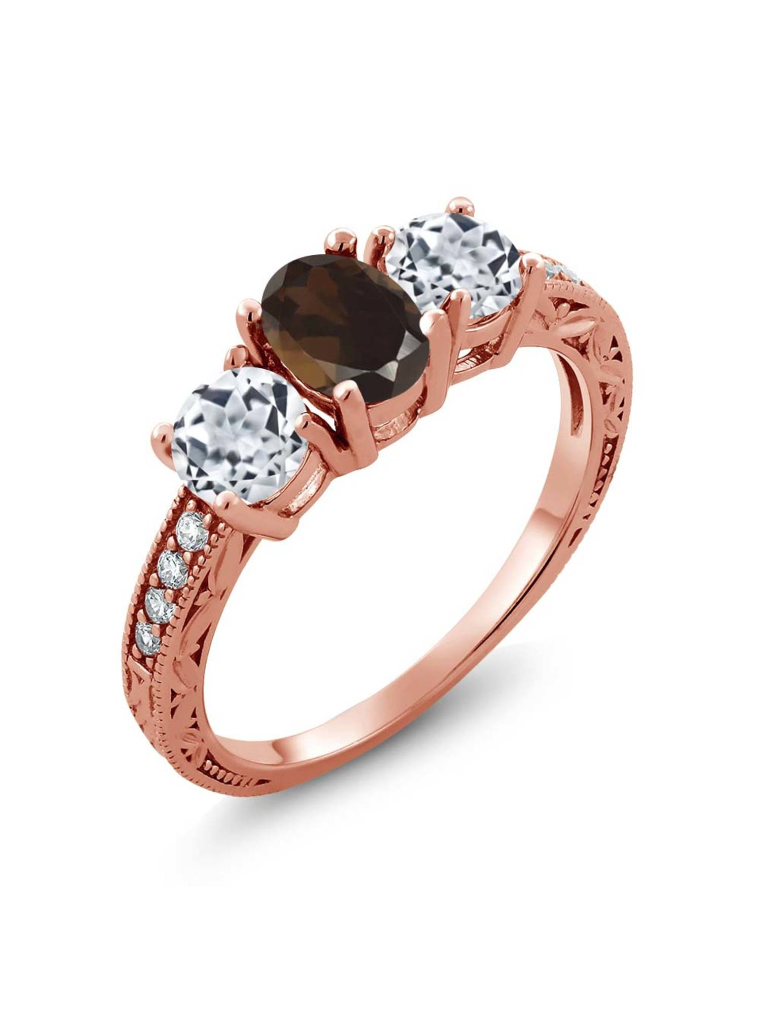 Gem Stone King 1.87 Ct Oval Brown Smoky Quartz White Topaz 18K Rose Gold Plated Silver Ring