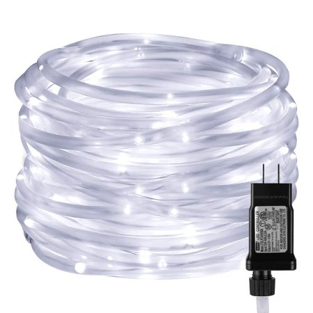LE LED Rope Light with Timer, Low Voltage, 8 Mode, Waterproof, Daylight White, 33ft 100 LED, Indoor Outdoor Plug in Light Rope and String for Deck, Patio, Bedroom, Boat, Landscape Lighting and (Le Spring)