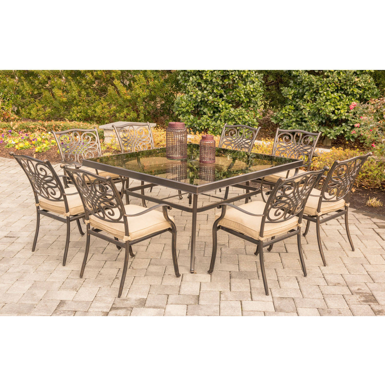 """Hanover Outdoor Traditions 9-Piece Dining Set with 60"""" Square Glass-Top Table and 8 Stationary Chairs"""