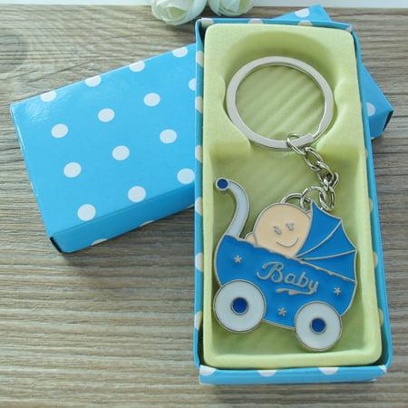 Baby Shower Stroller (12 PCS) Party Favor for Boy Blue Key Ring Recuerdos de mi Baby Shower de Niño Blue Gift box