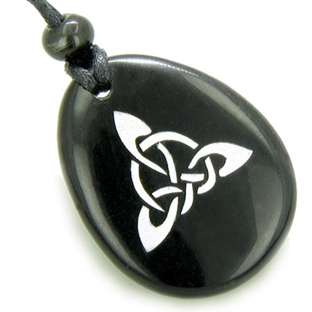Magic Celtic Triquetra Knot Amulet Black Agate Stone Pendant Necklace
