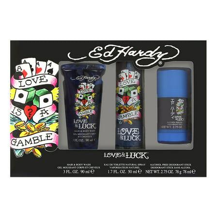 Ed Hardy Love & Luck by Christian Audigier for Men 3 Piece Set Includes: 1.7 oz Eau de Toilette Spray + 2.75 oz Deodorant Stick + 3.0 oz Hair & Body (Love And Luck Ed Hardy Gift Set)