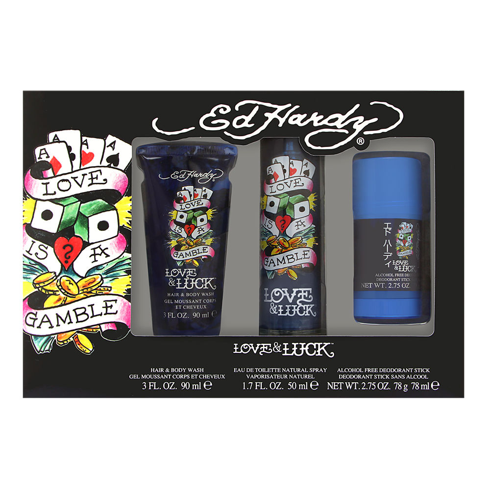 Ed Hardy Love & Luck by Christian Audigier for Men 3 Piece Set Includes: 1.7 oz Eau de Toilette Spray + 2.75 oz Deodorant Stick + 3.0 oz Hair & Body Wash