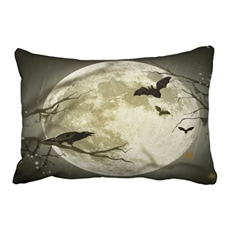 WinHome Vintage Halloween Moon Crow Bat Silhouette Personalized Polyester 20 x 30 Inch Rectangle Throw Pillow Covers With Hidden Zipper Home Sofa Cushion Decorative Pillowcases - Halloween Crow Silhouette