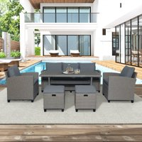 6 Piece Outdoor Wicker Sets, Rattan Wicker Patio Furniture with 3-Seat Sofa, Wicker Chairs, Stools, Dining Table, All-Weather Patio Dining Set with Cushions for Backyard, Garden, Pool, L4853