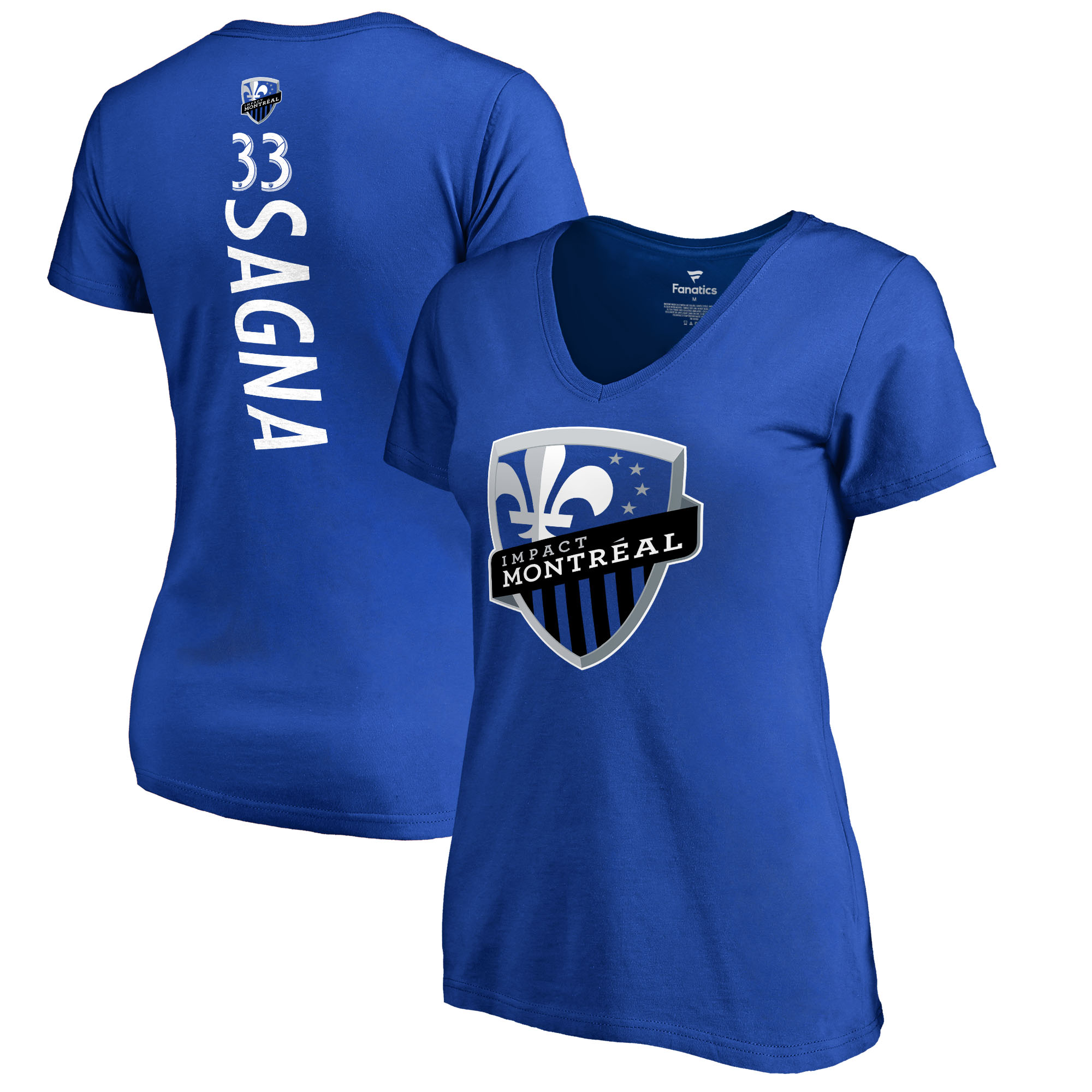 Bacary Sagna Montreal Impact Fanatics Branded Women's Backer Name & Number V-Neck T-Shirt - Royal