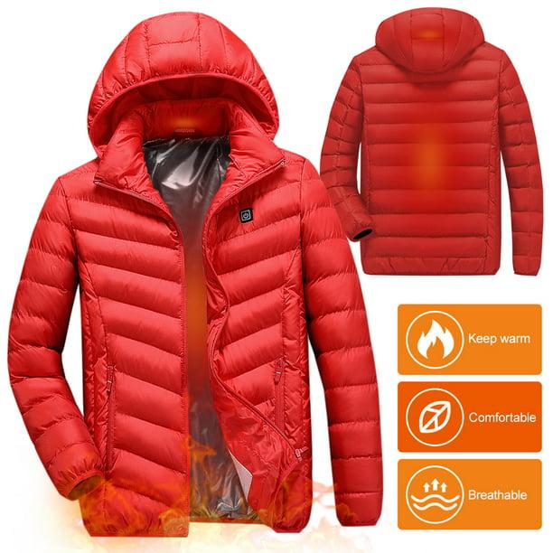 Adjustable Temperature Women USB Heated Clothing Winter Warm Cotton Coats Electric Heated Jacket with Hood Heating Body Warmer Jacket
