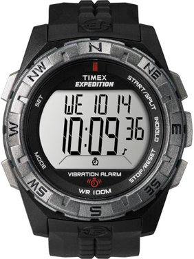 Men's Expedition Vibration Alarm Watch, Black Resin Strap