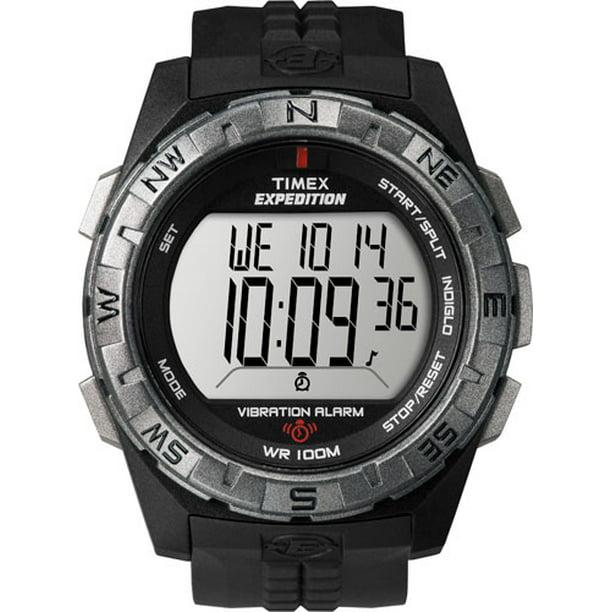 Timex Men's Expedition Vibration Alarm Watch, Black Resin Strap