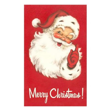 Merry Christmas. Winking Santa Claus Print Wall Art