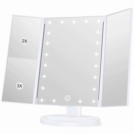 Lighted Makeup Mirror, Vanity Mirror with 3X/2X/1X Magnification, 21 Natural LED Nights and Touch Screen, Batteries and USB Power Supply Adjustable Tabletop Cosmetic Mirror, (Brica Day And Night Light Musical Mirror)