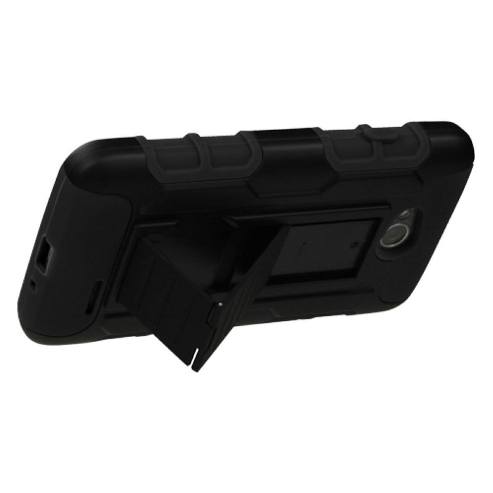 Insten Black/Black Hybrid Tough Thin Premium Case For LG Optimus L70 Optimus Exceed 2 Dual D325 - image 2 de 3